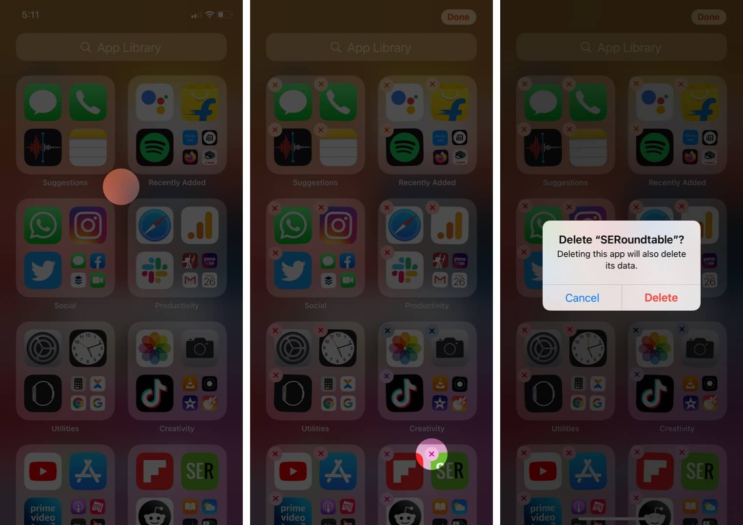 delete apps from app library in ios 14 on iphone