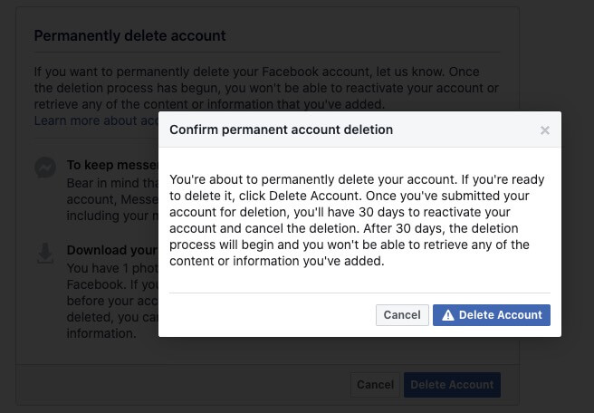 delete facebook account permanently from computer