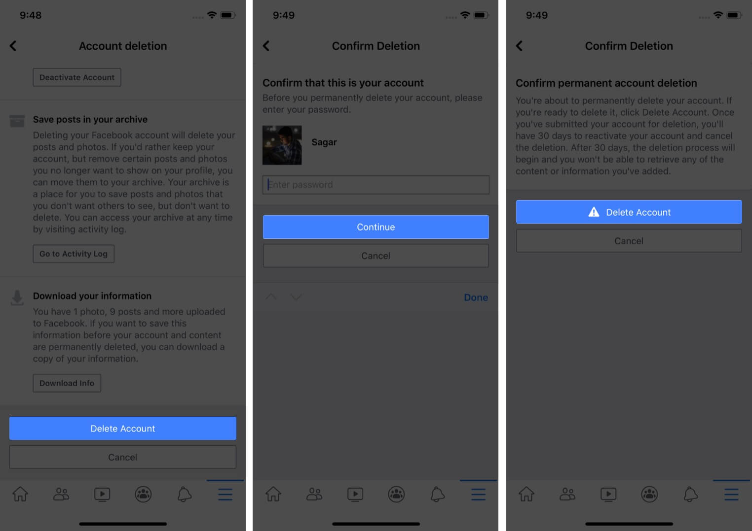 delete facebook account permanently on iphone