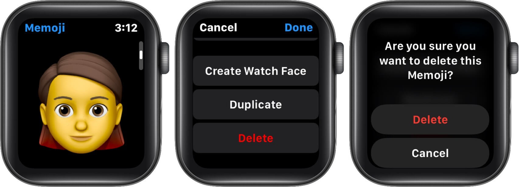 delete memoji on apple watch memoji app