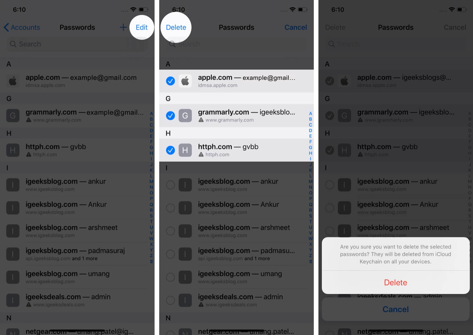 delete multiple saved passwords from keychain on iphone