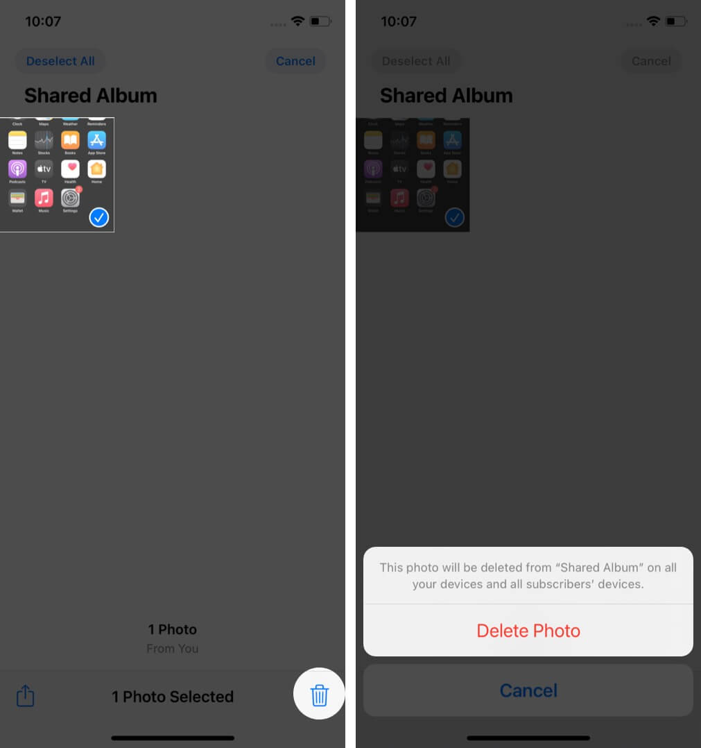 Delete Photos from Shared Album on iPhone