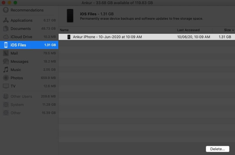 delete unnecessary iphone backups from storage on mac