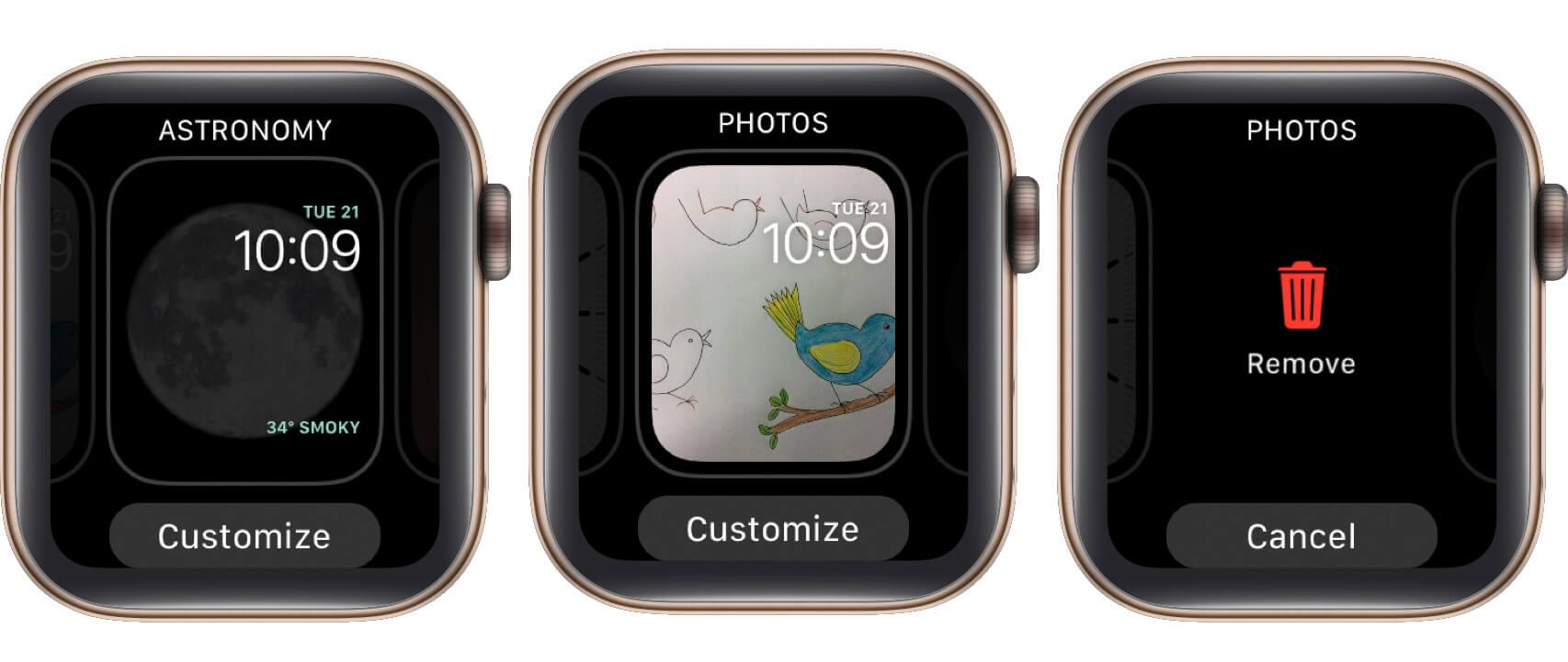 delete watch face on apple watch