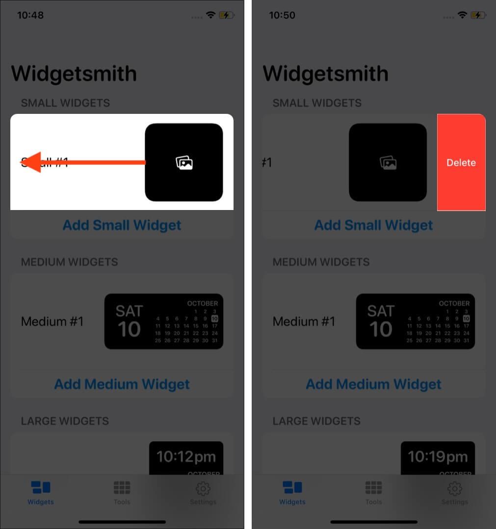 Delete Widgets in WidgetSmith App on iPhone