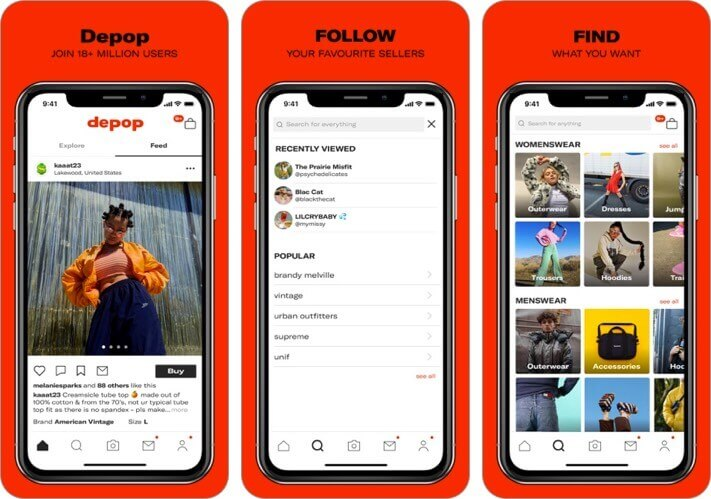 depop - streetwear & vintage iphone and ipad fashion app screenshot