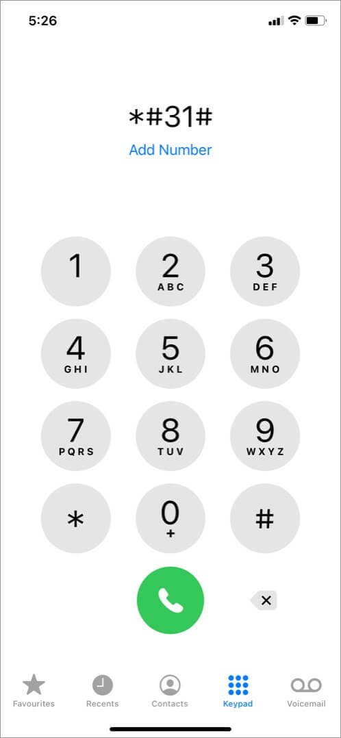 dial *#31# on iphone