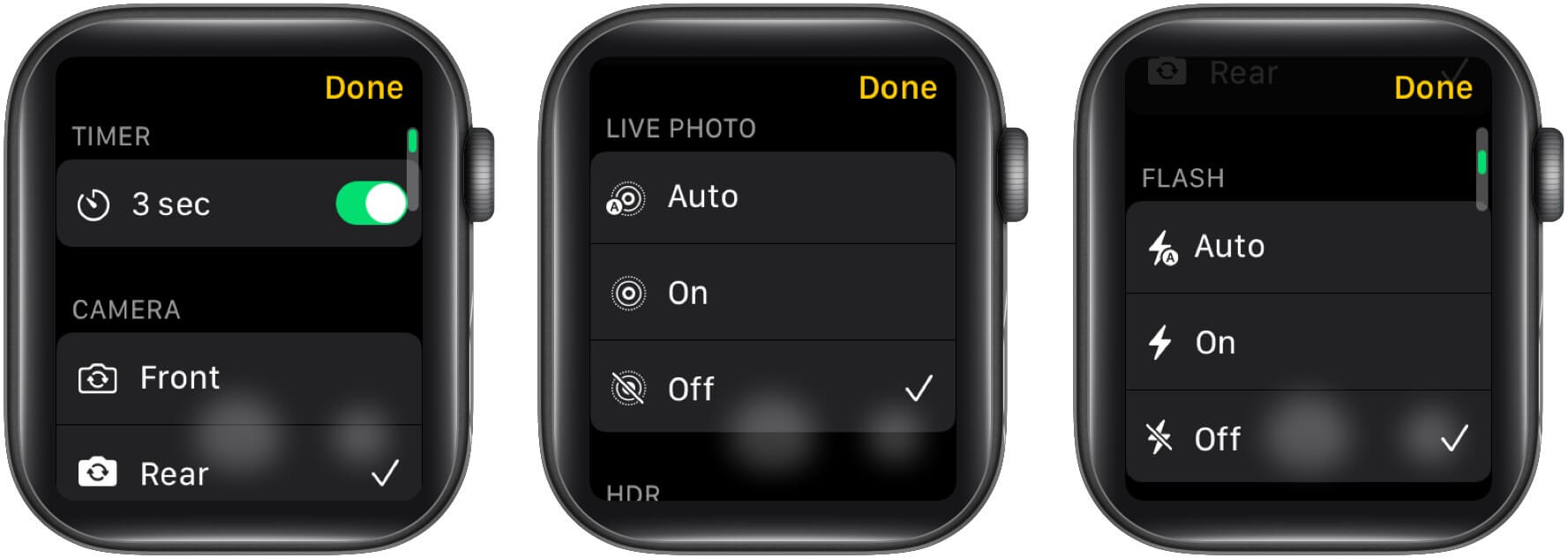different camera specifications on your Apple Watch