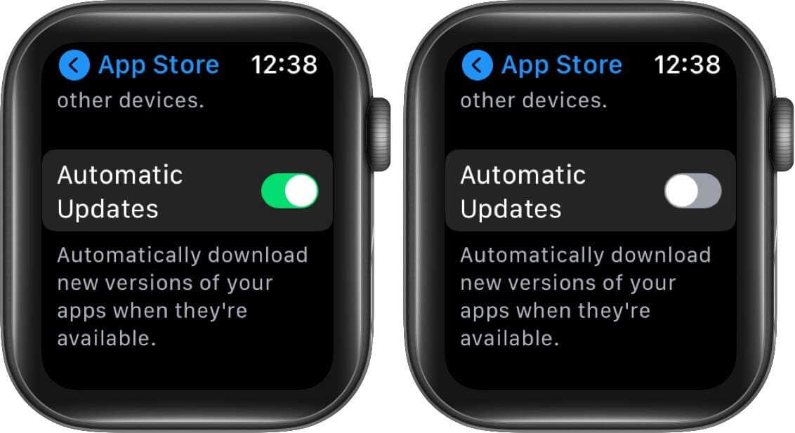 disable automatic updates on apple watch