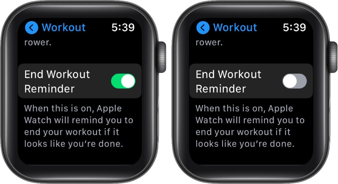 disable end workout reminder in workout app on apple watch