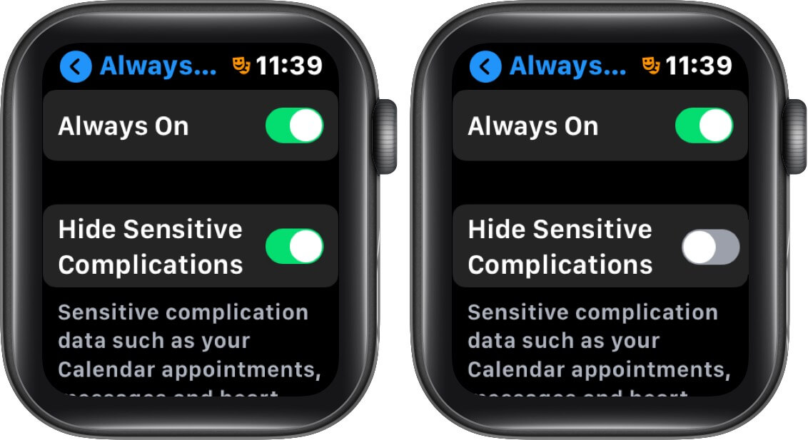 disable hide sensitive complications on apple watch