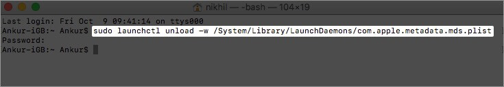 Disable Spotlight Indexing on Mac Using Terminal App