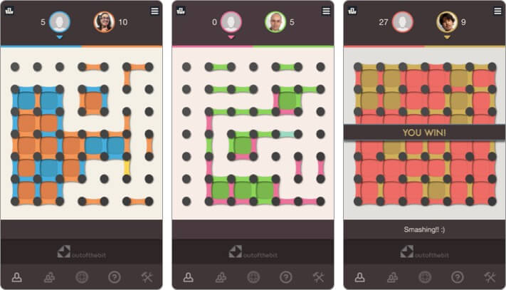dots and boxes two player iphone game screenshot