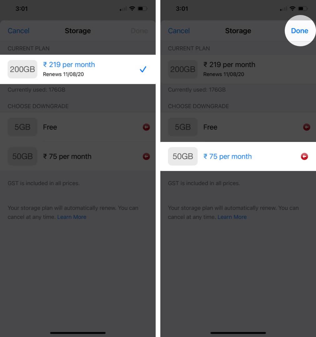 downgrade icloud storage plan on iphone