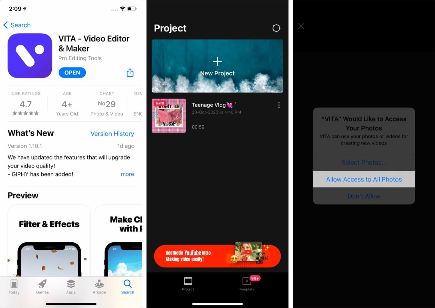 Download VITA Video Editor Tap on New Project and Allow Photos Access
