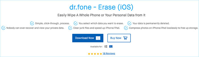 dr.fone Erase iPhone Cleaner for Mac and Windows