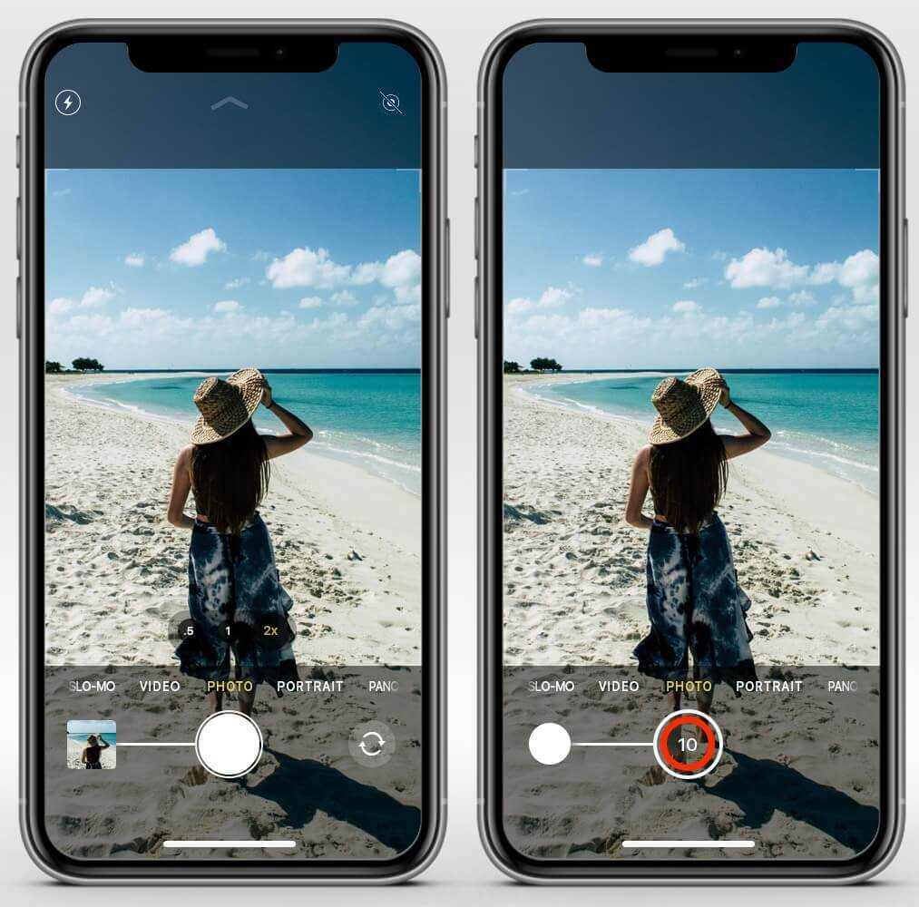 drag camera shutter button to take burst photos on iphone 11 pro max