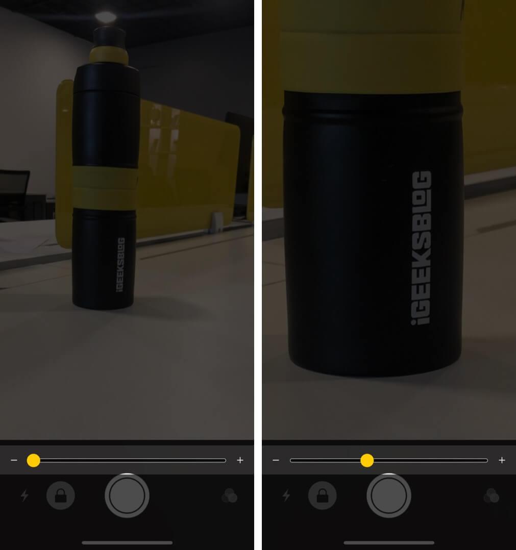 drag slider to adjust magnification level on iphone