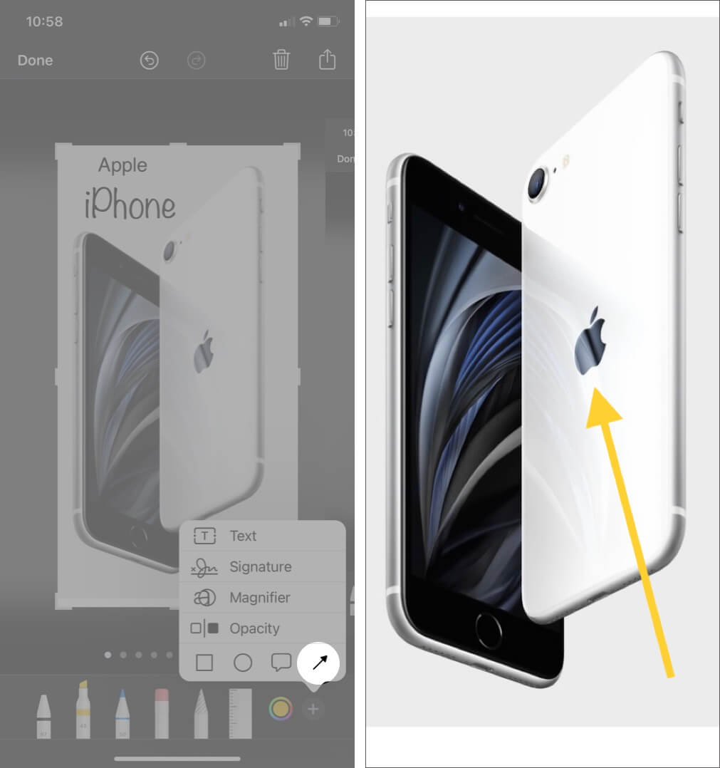 draw arrow on screeshot using markup tool on iphone