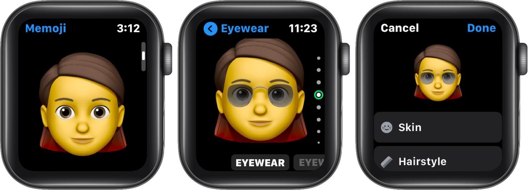 edit existing memoji on apple watch