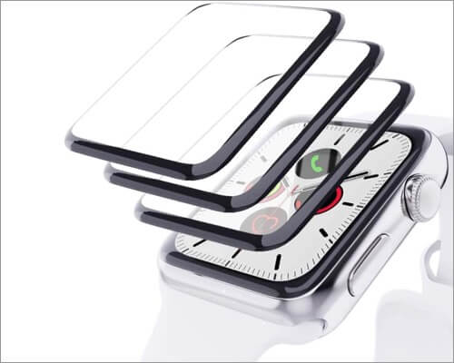 egoec screen protector with black edge for apple watch series 6 and 5