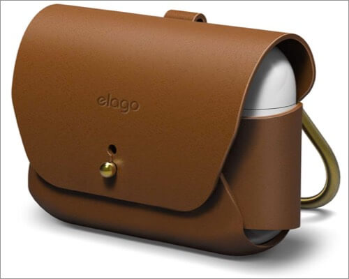 elago leather case with keychain for airpods pro