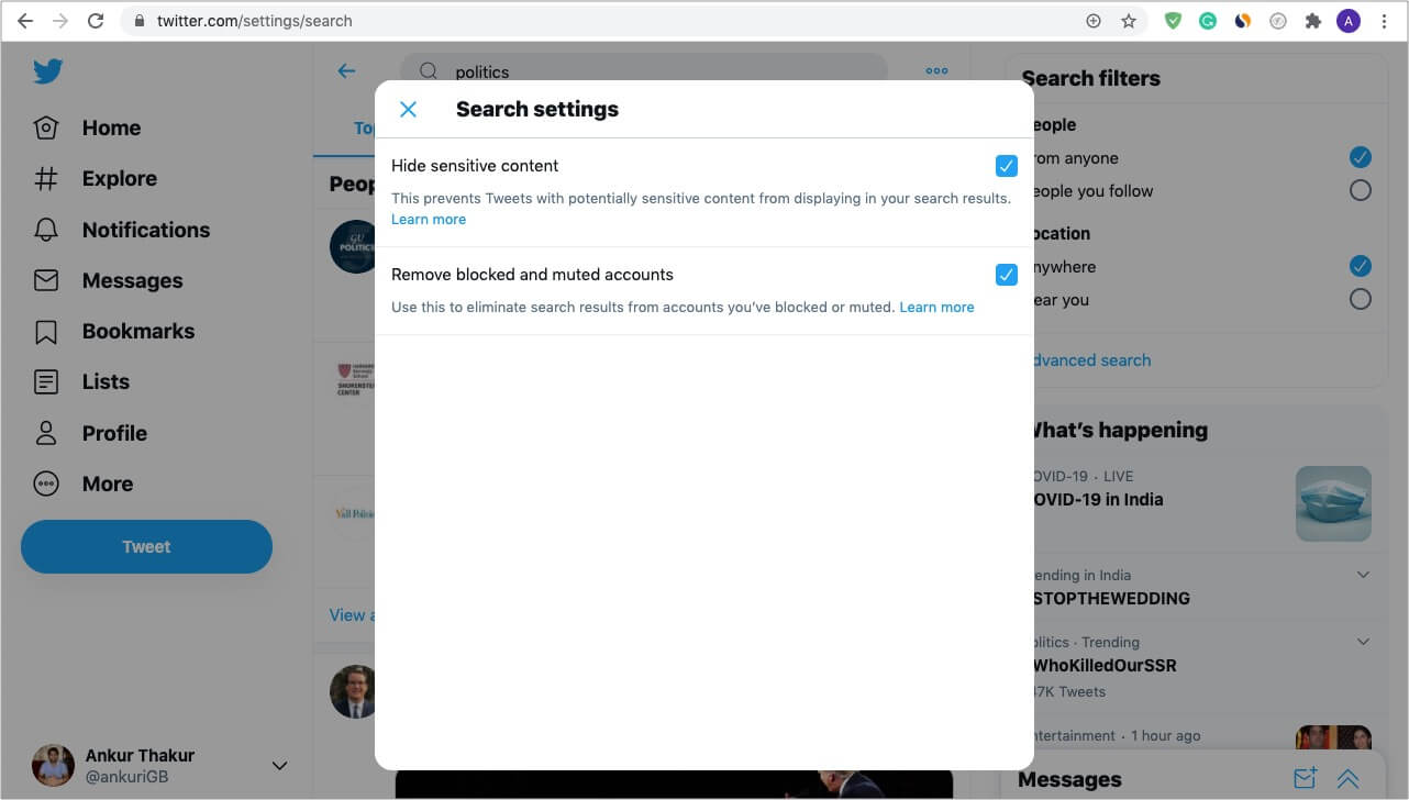 Enable and Use Twitter Safe Search on Computer