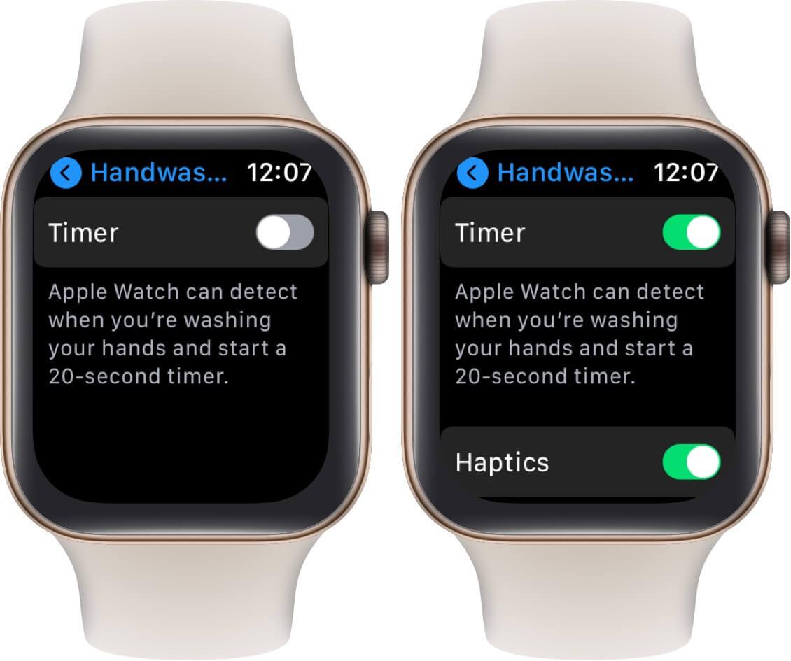 enable handwashing feature in watchos 7 on apple watch