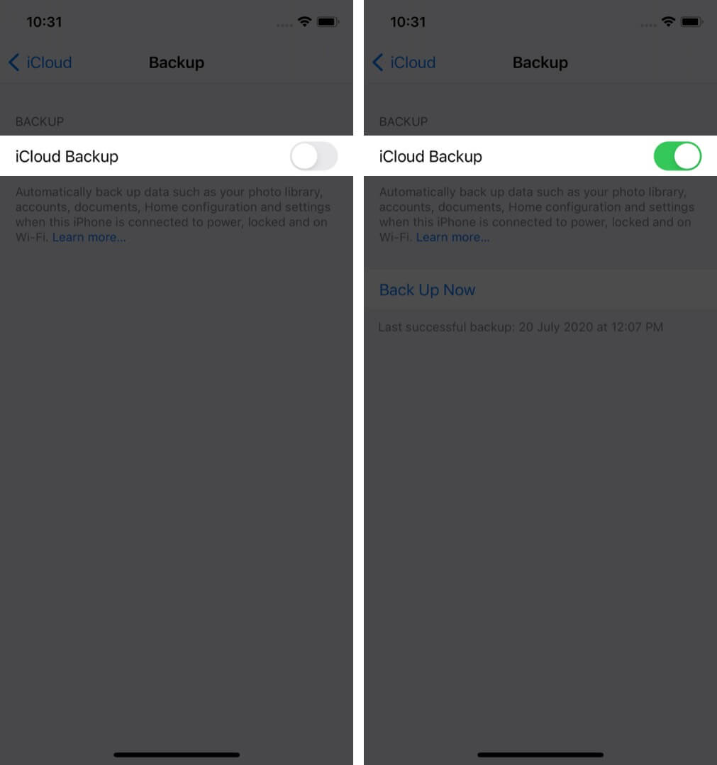 Enable iCloud Backup in iPhone Settings