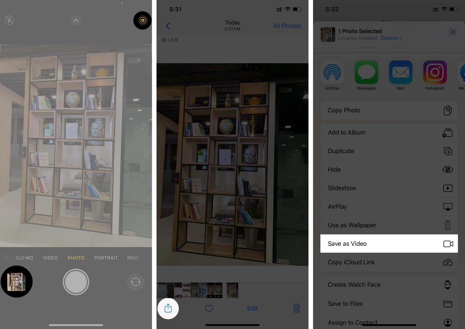 Enable Live Photo Tap on Preview and Tap on Share Then Tap on Save as Video on iPhone