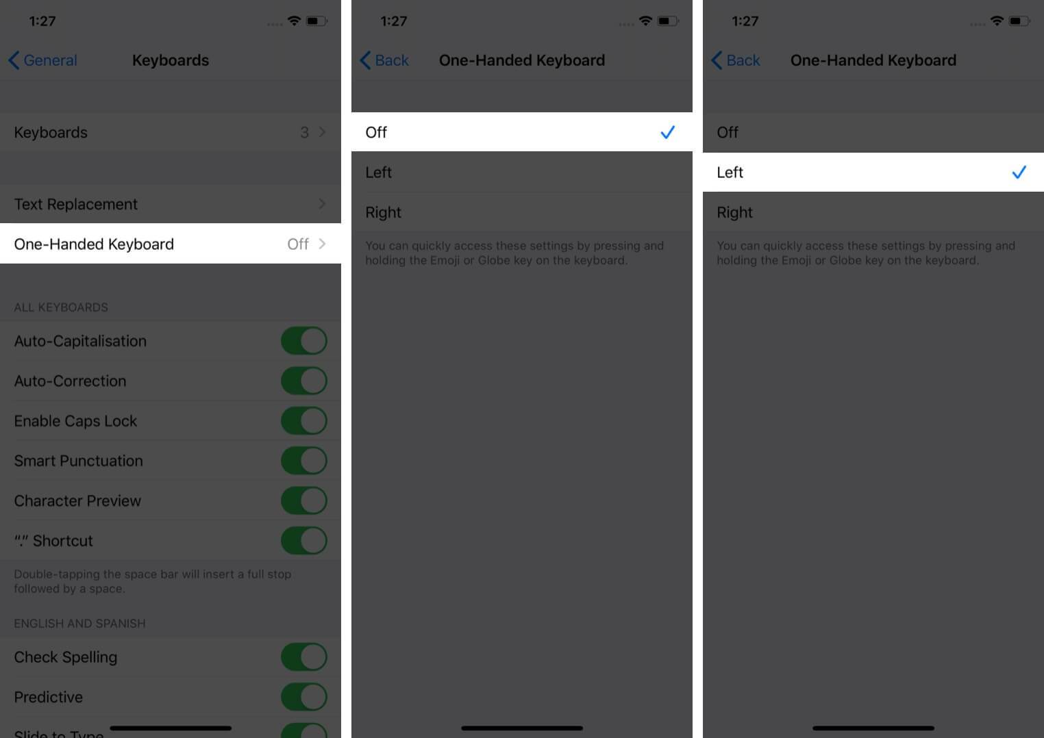 enable one handed keyboard on iphone