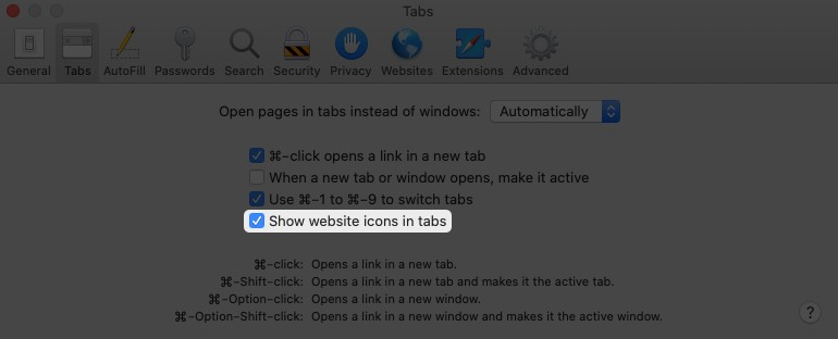 enable option to show website favicons in safari for mac
