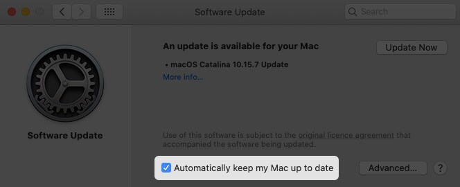 Enable Option to Turn On Automatic Software Update in macOS