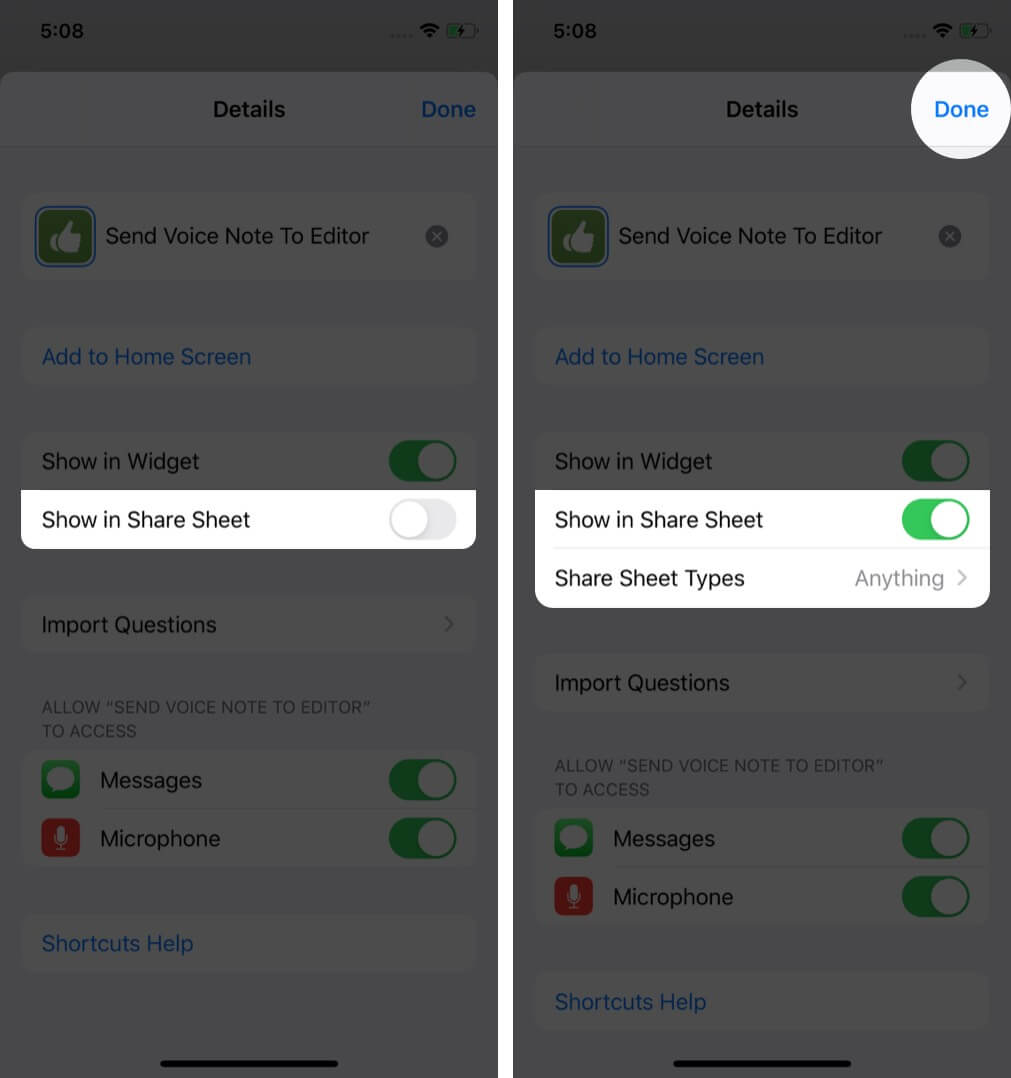 enable show in share sheet to view shortcut in share sheet on iphone