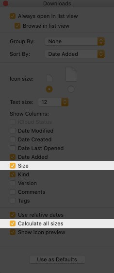 Enable Size and Calculate All Size on Mac
