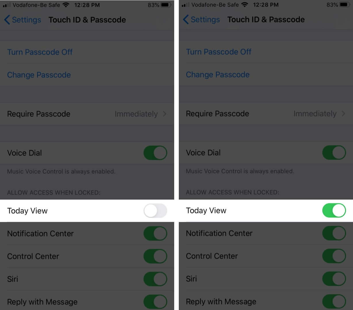 enable today view in touch id and passcode on iphone
