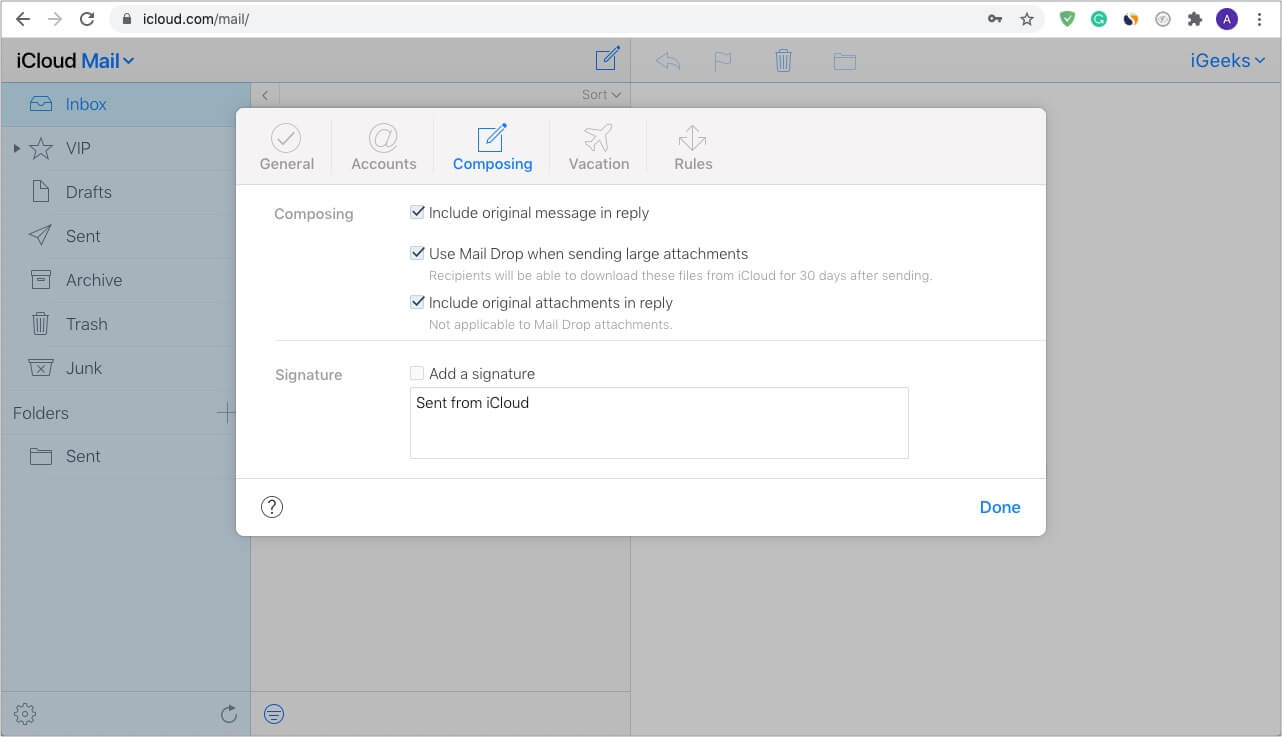 Enable Use Mail Drop from iCloud.com