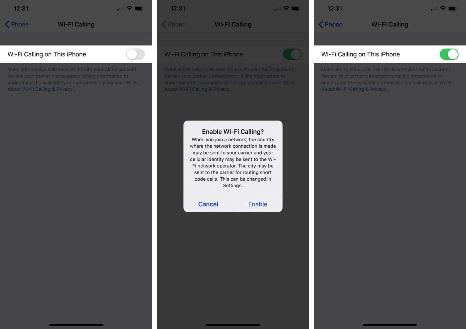 enable wifi calling on iphone