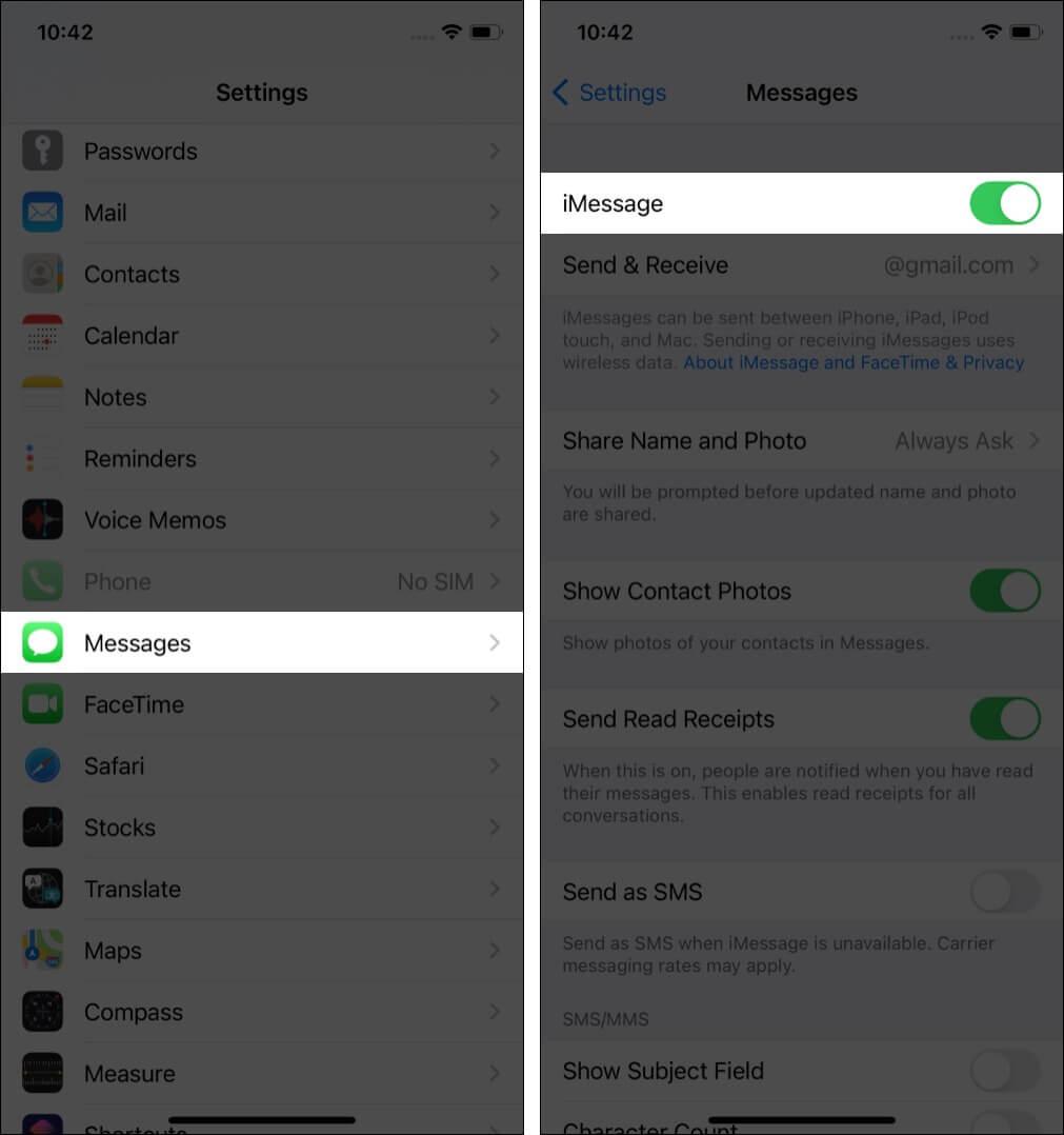 Ensure iMessage is turned on