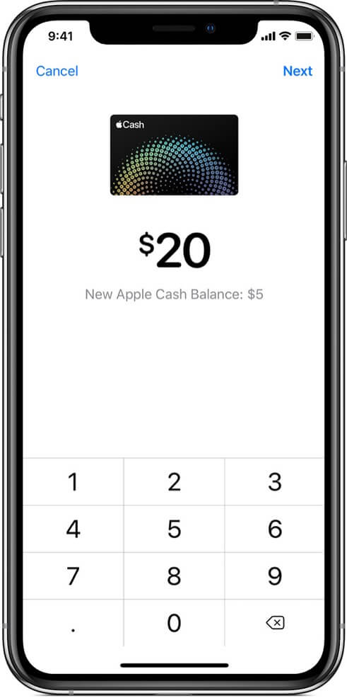 enter amount and tap on next