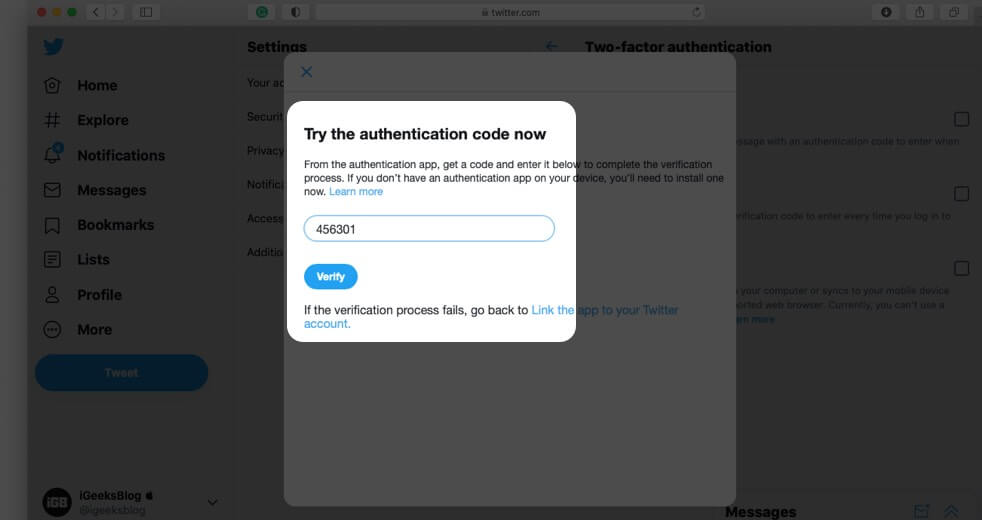 Enter Code and Click on Verify to Enable 2FA using Authentication App for Twitter on Computer
