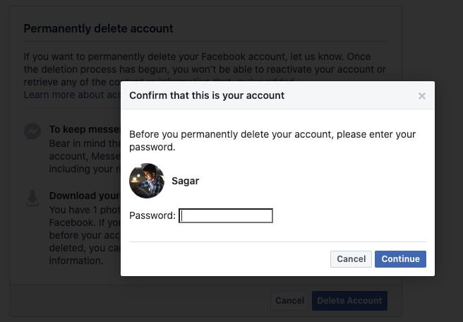 enter facebook password and click on continue