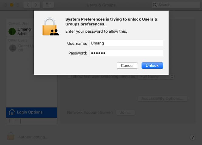Enter Mac's Password and Click on Unlock