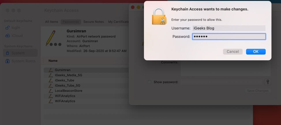 Enter Mac Username and Password and Click on OK