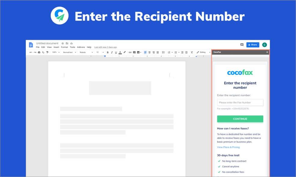enter recipient number in cocofax fax services