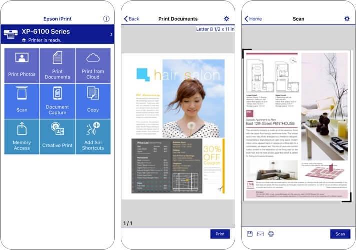 epson iprint iphone and ipad printing app screenshot
