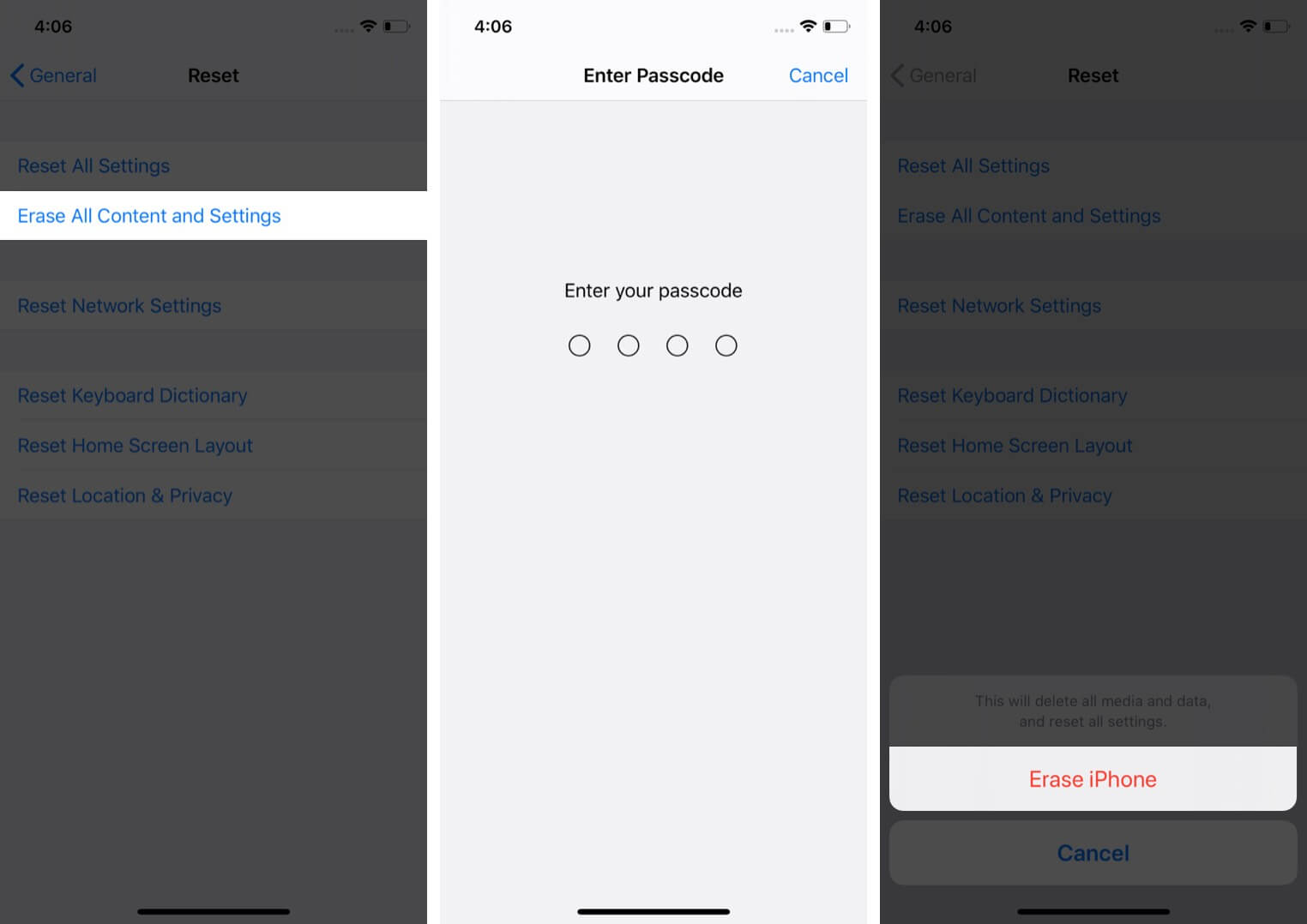 erase all content and settings from iphone