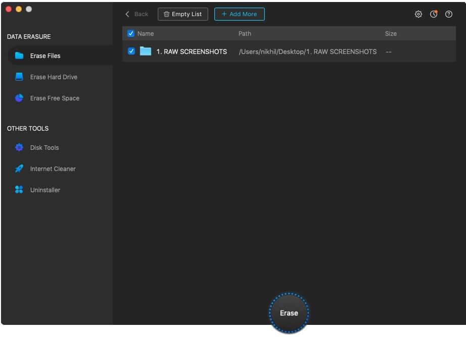 Erase Files using AweEraser on Mac