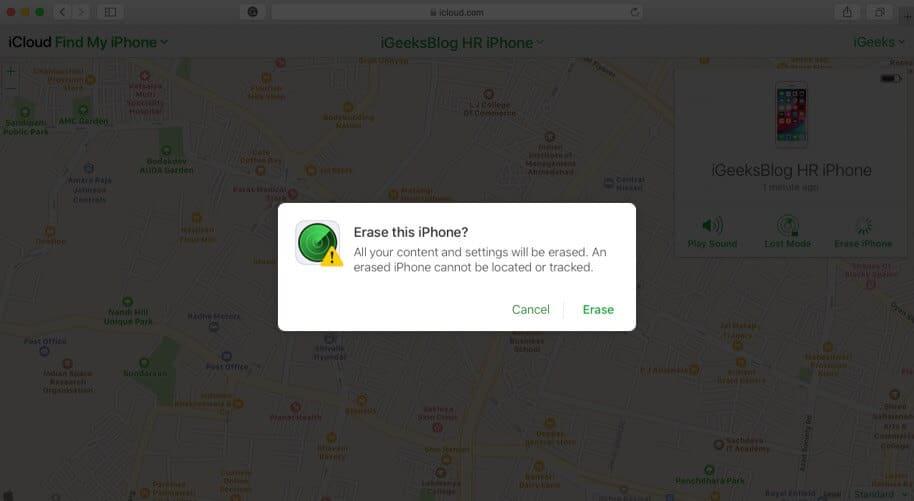 erase iphone using icloud