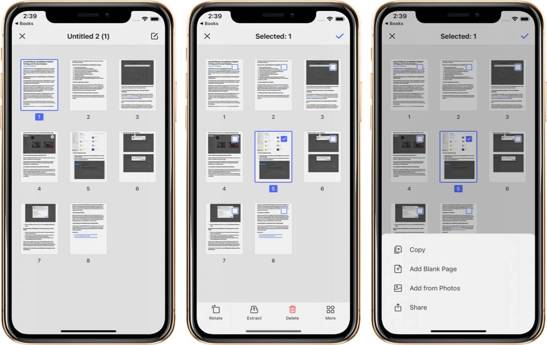 Extract Select Pages from PDF Using PDFelement Pro App on iPhone